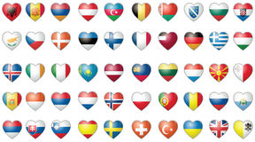Icons with all the flags of the world vector set. Icons with all the flags of the world set isolated on white royalty free illustration