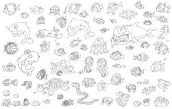Icons of all species of sea fish scualo whale dolphin octopus and shellfish Royalty Free Stock Photo