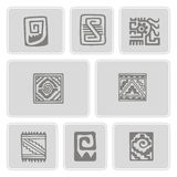 Icons with American Indians art and ethnic ornaments Stock Photography