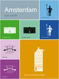 Icons of Amsterdam. Landmarks of Amsterdam. Set of flat color icons in Metro style. Editable vector illustration Stock Image