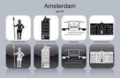 Icons of Amsterdam. Landmarks of Amsterdam. Set of monochrome icons. Editable vector illustration Stock Images