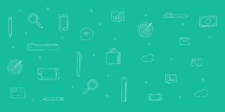 Icons analytics background, sketch doodle icons backdrop line outline style Royalty Free Stock Image