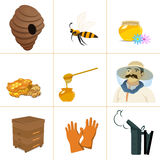 Icons apiaries and bee vector. Apiary set web. Royalty Free Stock Photos