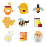 Icons apiaries and bee vector. Royalty Free Stock Image