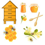 Icons apiaries and bee vector. Royalty Free Stock Photography
