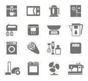 Icons, appliances, monotone, home appliances, white background. Royalty Free Stock Photo
