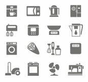 Icons, appliances, monotone, home appliances, white background. Royalty Free Stock Photo