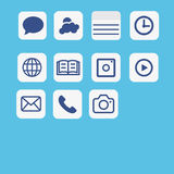 Icons application set vector.Multimedia icon set on blue   Royalty Free Stock Photo