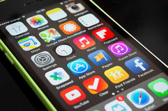 Icons of apps on iphone screen Stock Photos