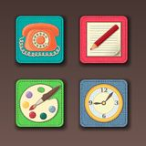 Icons for apps in textile style Stock Photography