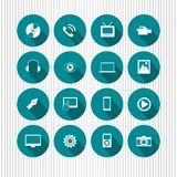 Icons on aqua. A set of illustrations of various round icons on aqua background royalty free illustration