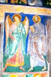Icons in  Arbore Monastery, Moldavia, Romania. Arbore is best known for its church, dedicated to Saint John the Baptist. Its painted church was the first painted Royalty Free Stock Images