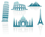 Icons of architectural monuments Royalty Free Stock Photos