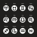 Icons of Aries, Taurus, Leo, Gemini, Virgo, Scorpio, Libra, Aquarius, Sagittarius, Pisces, Capricorn, Cancer. vector illustration