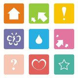 Icons: arrow, up, love, star, butterfly. Vector icons isolated on white background. Arrows, left, right, up, question mark, exclamation mark, heart, drop Stock Image
