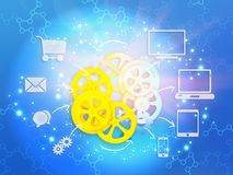 Icons with arrows pointing to the gear. Stock Photos