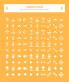 Icons arrows - white flat. This pack contains 100 white icons uniqe and modern of Directions Arrows that you can use in your designs.nn-100% .nn-Easy to change royalty free illustration