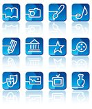 Icons of arts. Icons of art forms on blue buttons Royalty Free Stock Photo