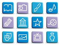 Icons of arts. Icons of art forms on colour buttons Royalty Free Stock Images