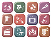Icons of arts on buttons. Culture and Art vector icons on buttons Royalty Free Stock Photography