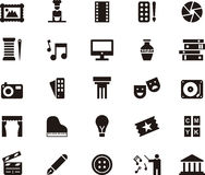 Icons for the arts. Set of black and white glyph flat icons relating to the arts Stock Photo