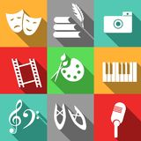 Icons with arts. Set of icons dedicated to arts Stock Photography
