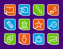 Icons of arts on stickers Stock Photo