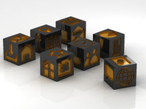 Icons assembling from blocks. Metal cube with icons assembling from blocks Royalty Free Stock Photography