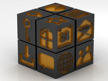 Icons assembling from blocks. Metal cube with icons assembling from blocks Stock Image