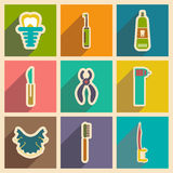 Icons of assembly stomatology in flat style Stock Photos