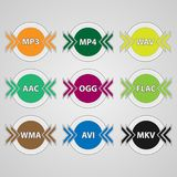 Icons for audio and video file formats. Set of icons for audio and video file formats. Colorful round file type icons Royalty Free Stock Photography