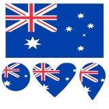 Icons Australian flag heart, pointer, ball. royalty free illustration