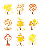 Icons - autumn trees. A set of vector icons - abstract autumn trees Stock Image