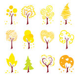 Icons - autumn trees. Collection of  objects - autumn leaves Stock Photos