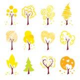 Icons - autumn trees Stock Photos