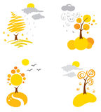 Icons - autumn weather. Vector icons - the landscape weather in the autumn stock illustration