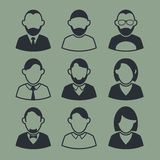 Icons Avatars. Black and white icons in the background. Stock Photos