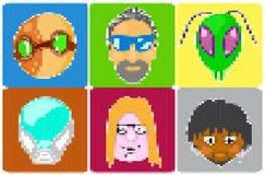 Icons of avatars pixel art Stock Photos