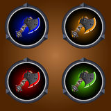 Icons axes. Round icons magical axes on a dark background Royalty Free Stock Photo