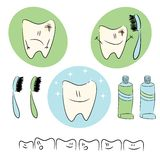 Icons,  baby illustrations on the theme of dental  Royalty Free Stock Photos
