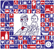 Icons baby items Royalty Free Stock Photos