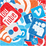 Icons background. Color social media vector background Royalty Free Stock Images