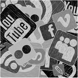 Icons background. Black and white social media background Stock Photography