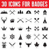 30 Icons for Badges and Design Works Stock Photography