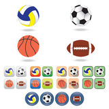 Icons of  balls for different sports. Stock Photo