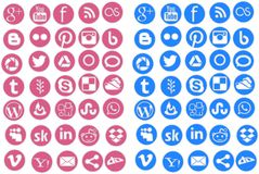 Social networks icons round. Pack of 36 icons balls for website, blog, etc.. two kinds of color and shade Stock Photos