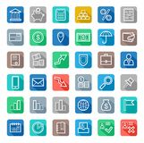 Icons, Bank, Finance, white outline, coloured background with shadow. Royalty Free Stock Photo