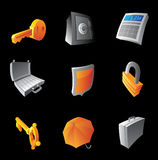 Icons for banking and finance. Black background. Vector illustration Royalty Free Stock Image