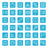 Icons, banking, Finance, currency, money, service, white outline, blue background. Royalty Free Stock Photos