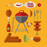 Icons Barbecue Grill. Big set Icons of Barbecue Grill. Cartoon style Royalty Free Stock Photo